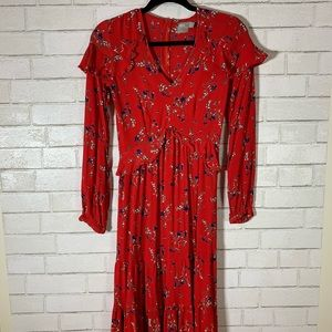Boohoo Red Ruffle Long Sleeve Dress